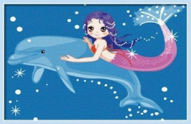 Картина по номерам 20х30 «Дельфин и русалка»