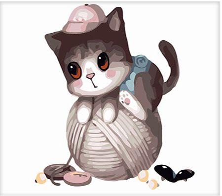 Картина по номерам 25х25 «Котенок на клубке»