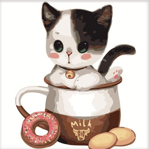 Картина по номерам 25х25 «Котенок в чашке с печеньем»