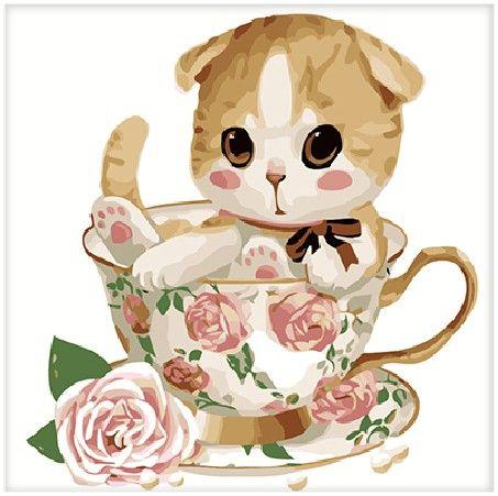 Картина по номерам 25х25 «Котенок в чашке с розой»
