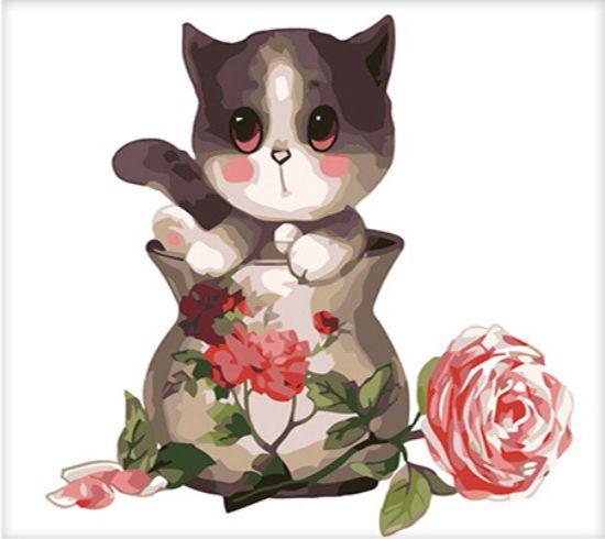 Картина по номерам 25х25 «Котенок в вазе»