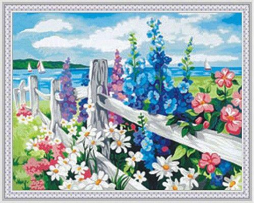 Картина по номерам 30х40 «Цветочная изгородь»