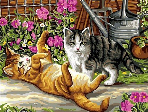 Картина по номерам 30х40 «Игривые котята»