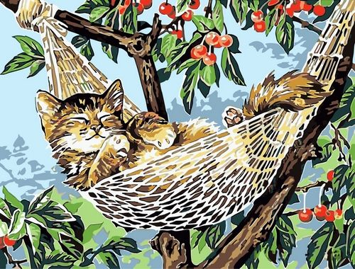Картина по номерам 30х40 «Котенок в гамаке»