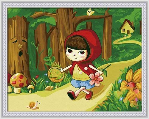 Картина по номерам 30х40 «Красная шапочка»