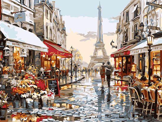 Картина по номерам 30х40 «Люблю тебя Париж!»
