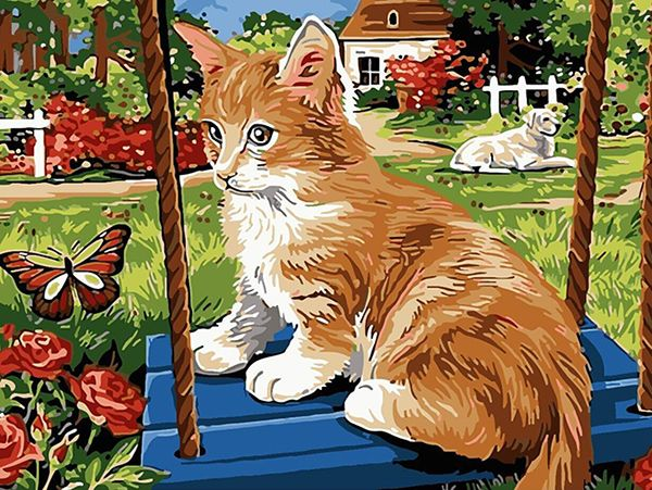 Картина по номерам 30х40 «Охота на бабочку»
