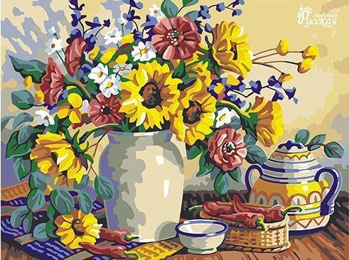 Картина по номерам 30х40 «Утренний букет»