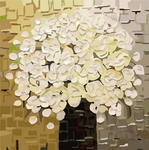 Картина по номерам 40х40 «Белый букет»