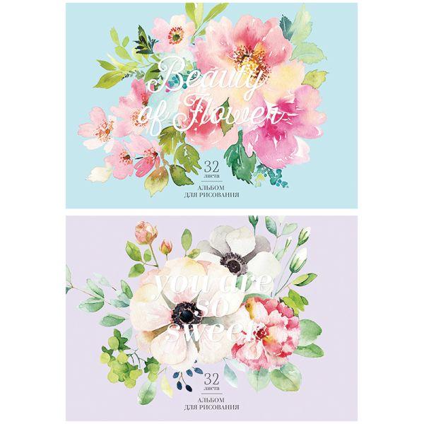 Блок для рисования на склейке «Цветы»