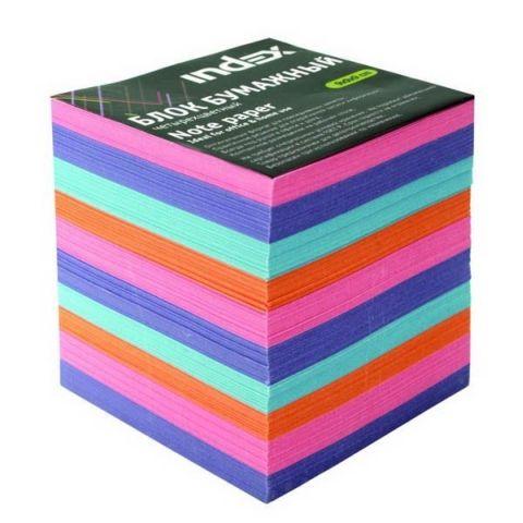 Блок бумажный многоцветный, 9х9х9 см «INDEX»