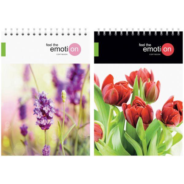 Блокнот А5, 40 листов, на гребне «Цветы — Emotion flowers»