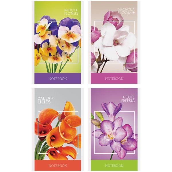 Блокнот А6, 32 листа, на скобе «Цветы — Стильные букеты»