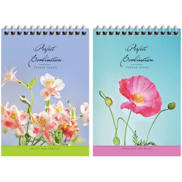 Блокнот А6, 40 листов, на гребне «Цветы — Идеальное сочетание»