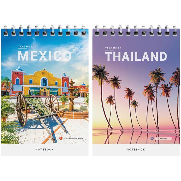 Блокнот А6, 60 листов, на гребне «Путешествия — Take me to travel»