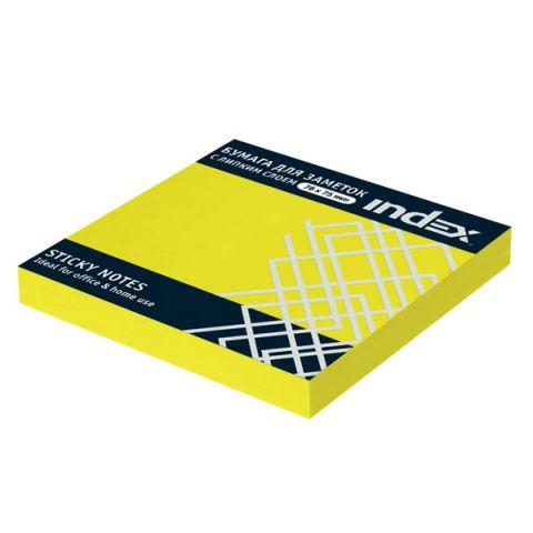 Бумага для заметок с липким слоем, 76х75 мм, НЕОН «INDEX»