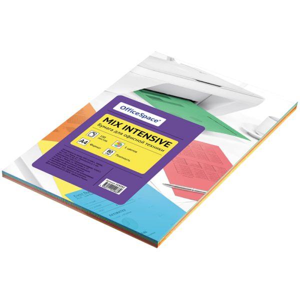 Бумага «OfficeSpace», набор интенсив, 100 листов, 5 цветов