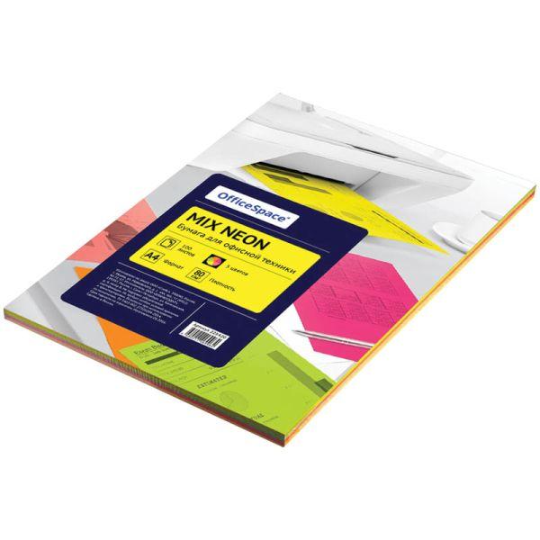 Бумага «OfficeSpace», набор неон, 100 листов, 5 цветов