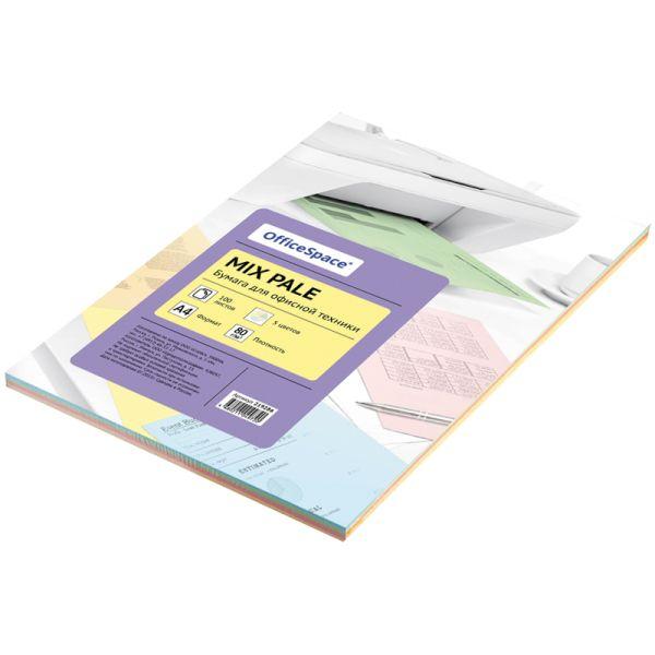 Бумага «OfficeSpace», набор пастель, 100 листов, 5 цветов