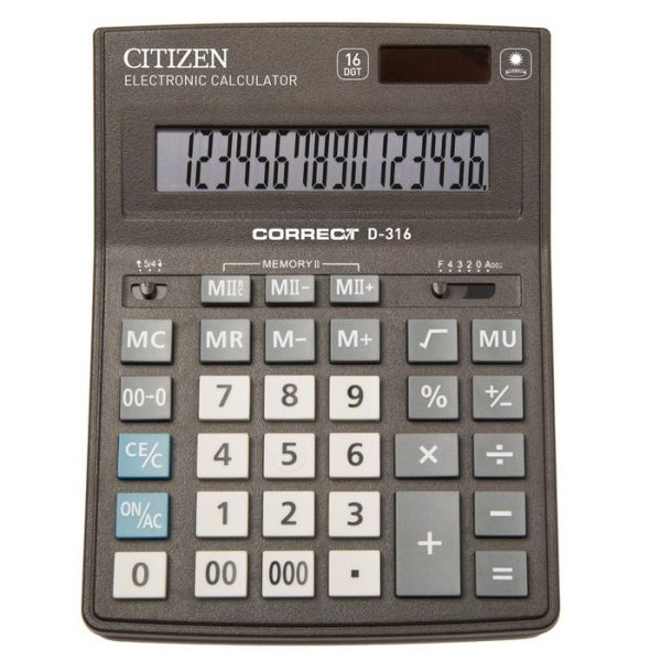 Калькулятор 16 разрядный CITIZEN Correct D-316