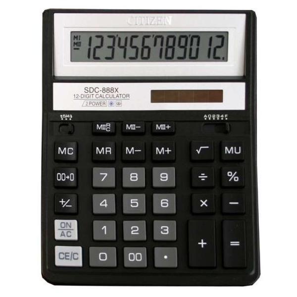 Калькулятор 12 разрядный CITIZEN SDC-888X