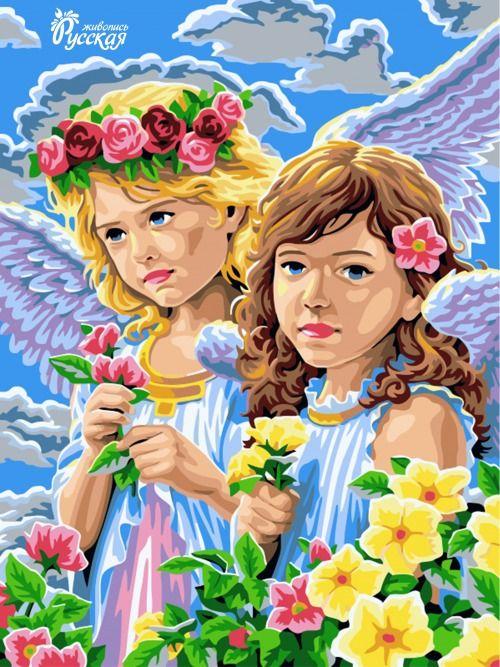 Картина по номерам 30х40 «Ангелы»