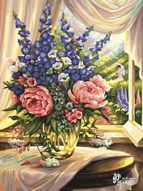 Картина по номерам 30х40 «Букет у окна»