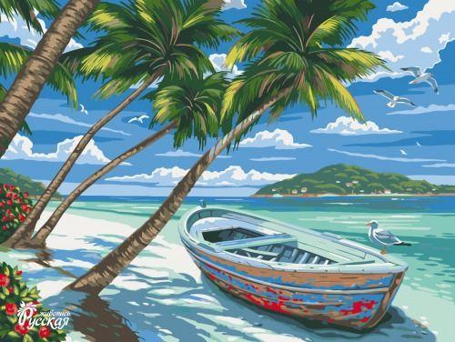 Картина по номерам 30х40 «Лазурный пляж»