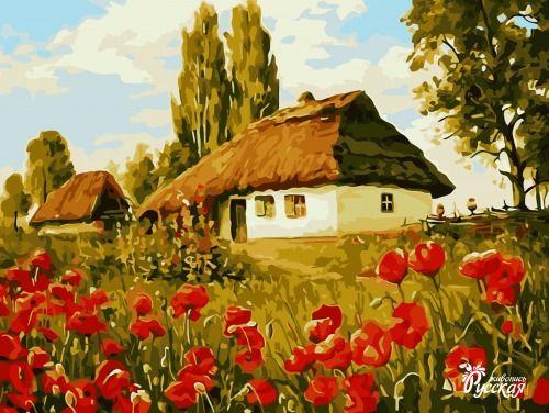 Картина по номерам 30х40 «Маки в деревне»