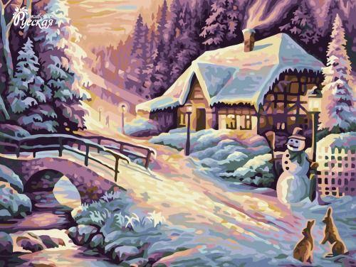 Картина по номерам 30х40 «Зимний вечер»