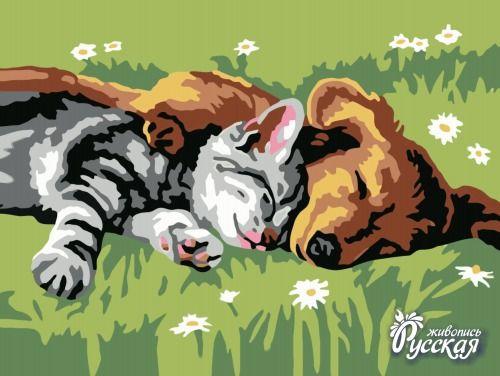 Картина по номерам 30х40 «Котенок и щенок»