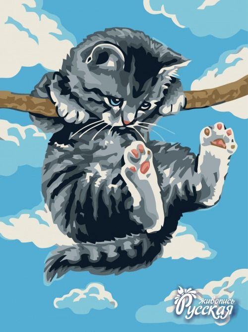 Картина по номерам 30х40 «Котенок на ветке»
