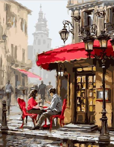 Картина по номерам 30х40 «Летнее кафе»