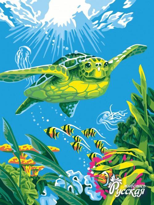 Картина по номерам 30х40 «Свободное плавание»