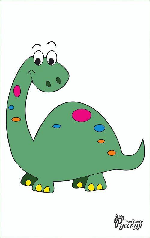 Картина по номерам на картоне 20х30 «Динозаврик»