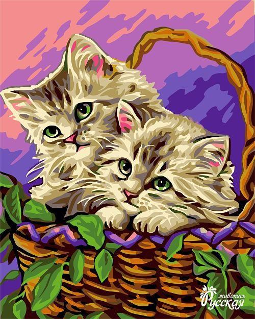 Картина по номерам на картоне 30х40 «Два котенка»