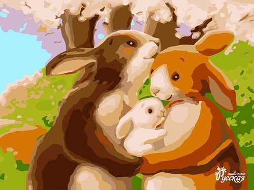 Картина по номерам на картоне 30х40 «Кролики»