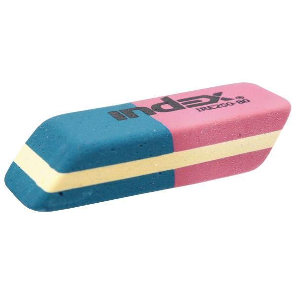 Ластик каучуковый, красно-синий «INDEX»
