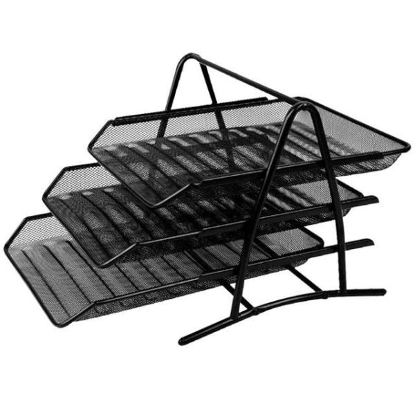 Лоток для бумаг металлический, горизонтальный, тройной