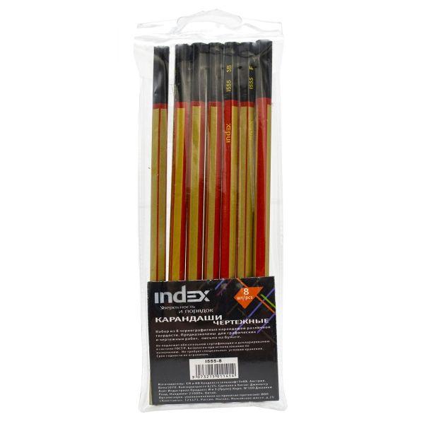 Набор карандашей чернографитных, 3H-3B, 8 шт.
