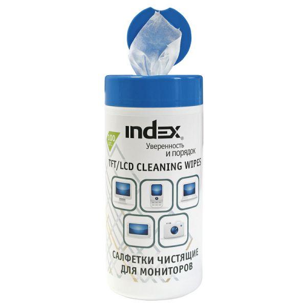 Салфетки влажные чистящие «INDEX» для мониторов, 100 штук