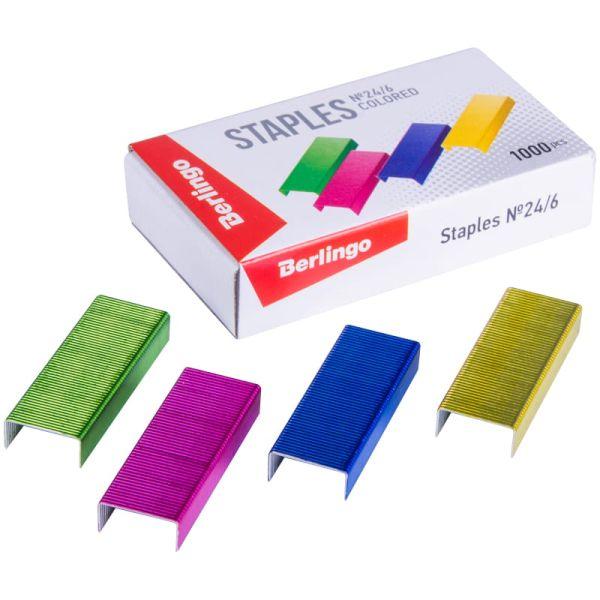 Скобы для степлера №24/6, цветные «Berlingo»