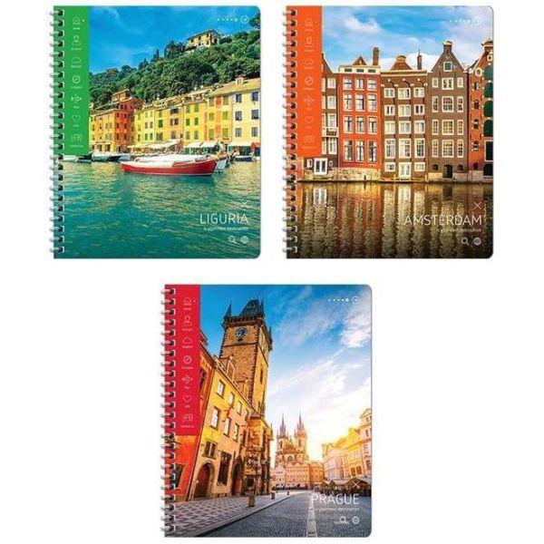 Тетрадь на гребне, А5, 80 листов «Путешествия — Европейские города»
